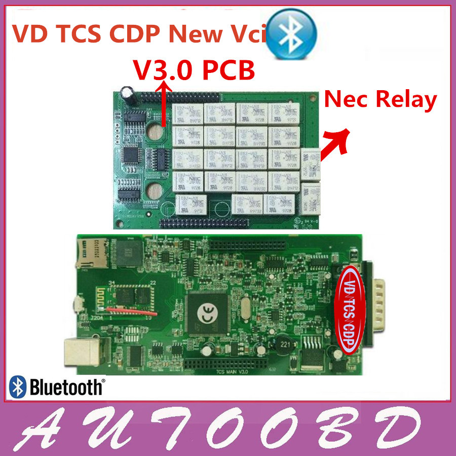Prix pour Nouveau Vci VD TCS CDP Plus Bluetooth V3.0 PCB Vert conseil Auto Scanner OBDII/OBD Professionnel Outil De Diagnostic pour les voitures et camions