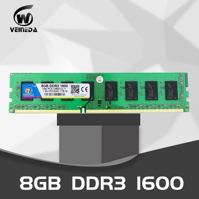 Mémoire vive VEINEDA Dimm ddr3 32 gb 4X8 gb 1600 MHz mémoire vive pour tous les PC3-12800 de bureau Intel AMD 32 gb ddr 3 mémoire non-ecc