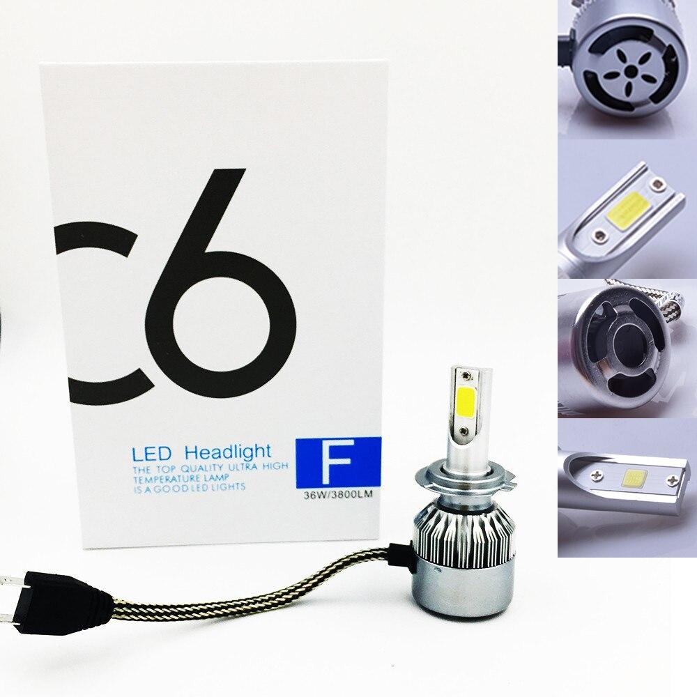 2X FREE SHIPPING CHEAPEST C6 H7 72W 7600LM AUTO BULB KIT LIGHTS LED font b LAMP