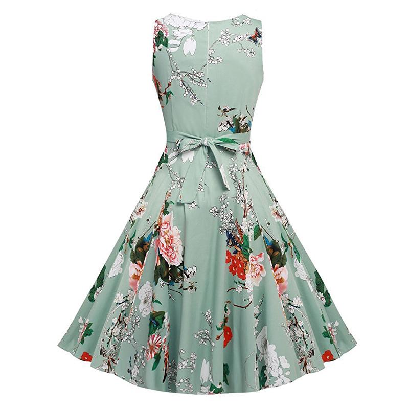 Kostlish Cotton Summer Dress Women 2017 Sleeveless Tunic 50s Vintage Dress Belt Elegant Print Rockabilly Party Dresses Sundress (45)