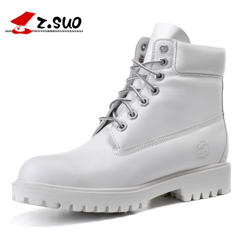 2018 Fashion Autumn Winter Leather Men Boots Black Casual White Shoes Platform Rubber Mid-calf Mens Work Boots Plus Size 39-45