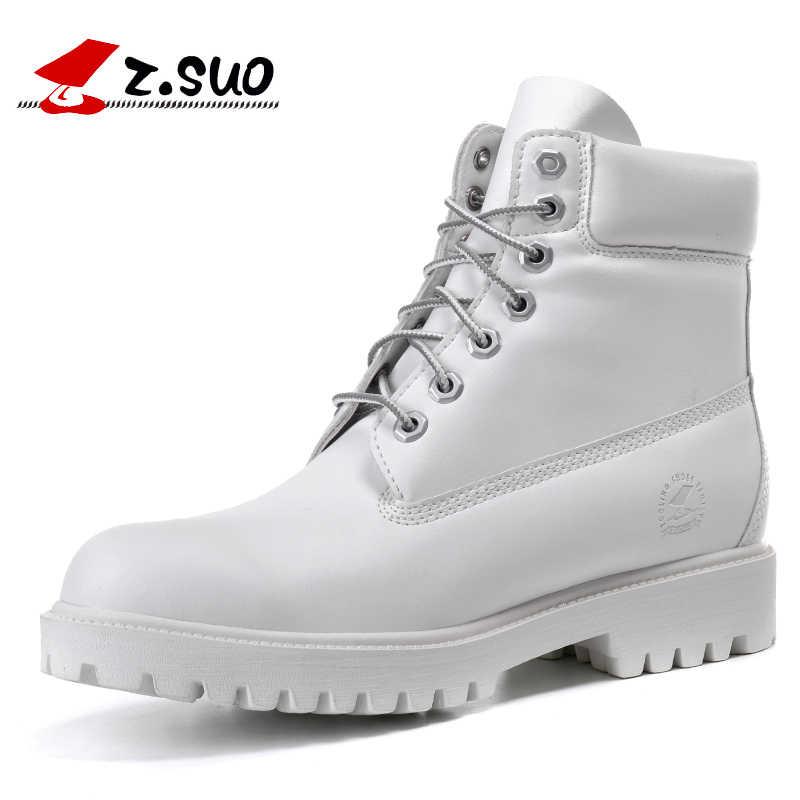 ... 2018 Модные осенние зимние кожаные мужские ботинки черные повседневные  белые туфли на платформе резиновые мужские рабочие ... f824a12b744