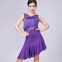 Sexy Women Fringe Dress with Shorts Double V Neck Sleeveless See Through Lace High Low Hem Party Dress Dance Performance Outfit