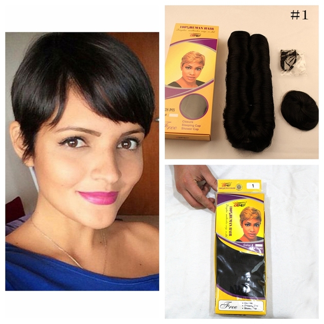 27 Pieces Short Human Hair Weave With Free Closure 7a Brazilian