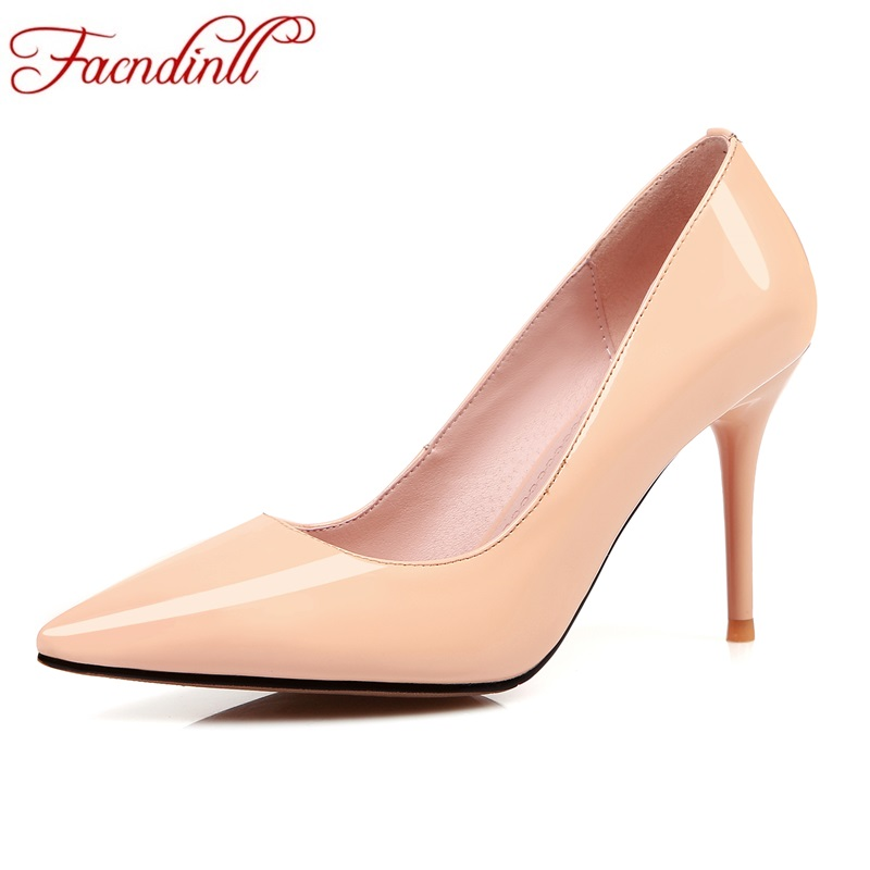 FACNDINLL new fashion autumn women pumps sexy genuine leather high thin heels pointed toe black red office ladies dress pumps