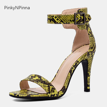2019 summer super high heels python snakeskin pattern sexy sandals woman ankle wrap toe strap buckle party fashion shoes female lapolaka 2018 summer brand natural cow suwde ankle wrap women sandals high heels ethnic shoes woman fashion date party shoe