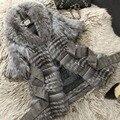 2016 Genuine Silver Fox Fur Coat Para Las Mujeres Color de La Naturaleza Chaqueta de Invierno Caliente Larga de Piel de zorro Patchwork de piel de Zorro Auténtico prendas de vestir exteriores