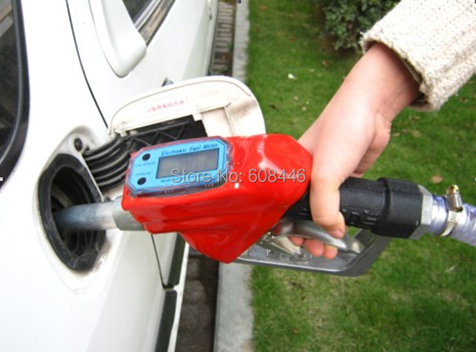 Fuel Gasoline Diesel Petrol Oil Delivery Gun Nozzle Dispenser With Flow Meter Free shipping