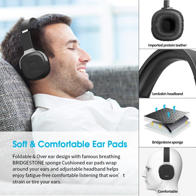 New Bee Headset Wireless Bluetooth headphones Wired 3.5mm Foldable Stereo Sport Earphone With Mic NFC For Computer Phone TV