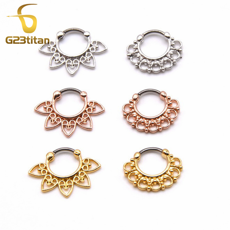 G23titan 고품질 도금 금 가짜 Septum 링 G23 Titanium Pole Septo Piercing Nez Jewelry