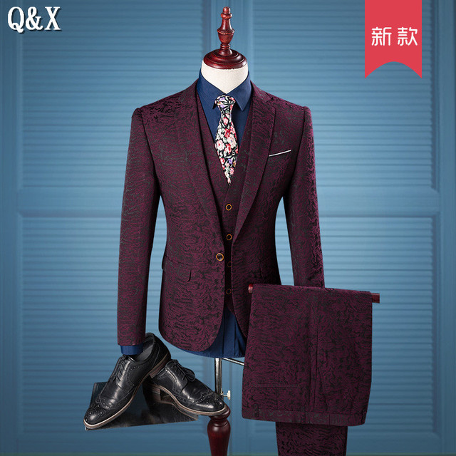 MS53 2017 Luxury Men Suit Wine Red Pattern One Button Suit Jacket ...