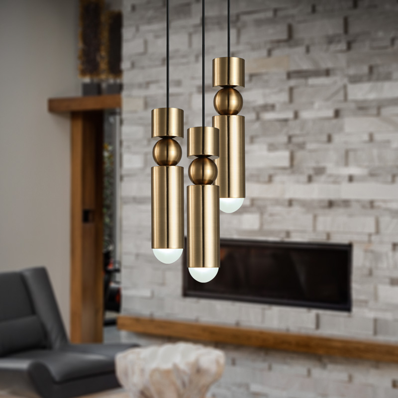 European Fashion Creative Chandelier Modern Simple Bullet Gold Plated Dining Room Bedroom Living Small Hanging