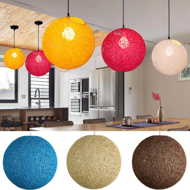 Red Orange Yellow Rattan Wicker Ball Ceiling Light Cover Pendant Round Lamp Shade Simple Fixture For Home Restaurant Bar Decor