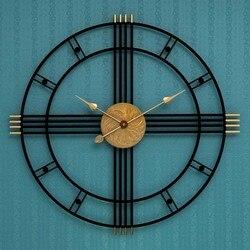 Большие металлические настенные часы современный дизайн для гостиной Европейский Винтаж ретро римские часы Железный арт настенные часы до...