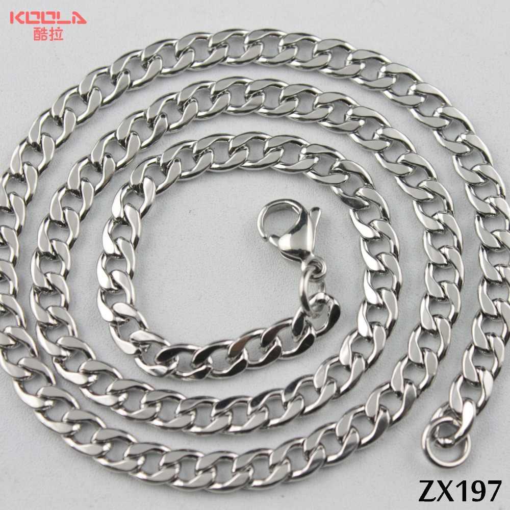 5.3mm ze stali nierdzewnej naszyjnik ze stali kuba łańcuch łańcuch figaro łańcuch sweter mężczyzna mężczyzna biżuteria 20 sztuk ZX197