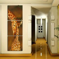 Modern Abstract Art Hang Pictures Handpainted Giraffe Mother and Baby Animal Oil Paintings On Canvas Wall Pictures Home Decor