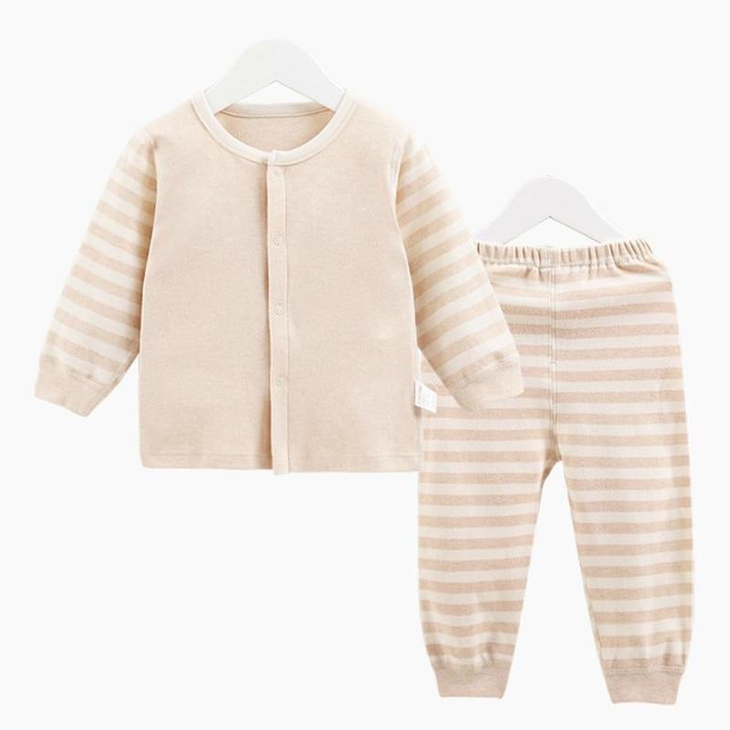 Organic Cotton Baby Boy Girl Long Sleeve Clothing Set,Unisex Striped Newborn Baby T-Shirt + Pants Suit Set Gift Retail YJM204