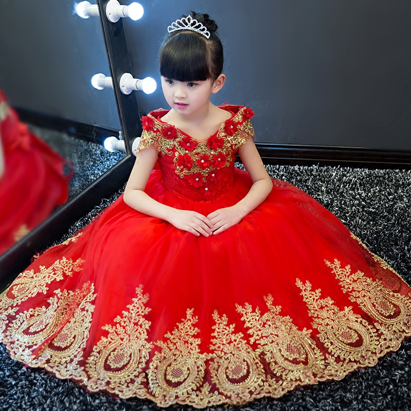 Sequined Appliques Flower Girl Dresses Wedding Ball Gown V neck Long Kids Dress Evening Floral Tutu