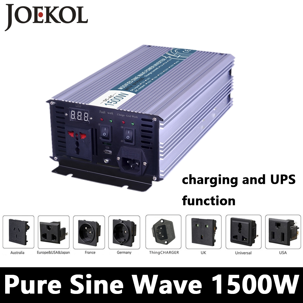 1500W Pure Sine Wave Inverter,DC 12V/24V/48V To AC110V/220V,off Grid power Inverter with charger and UPS,Solar inverter for home