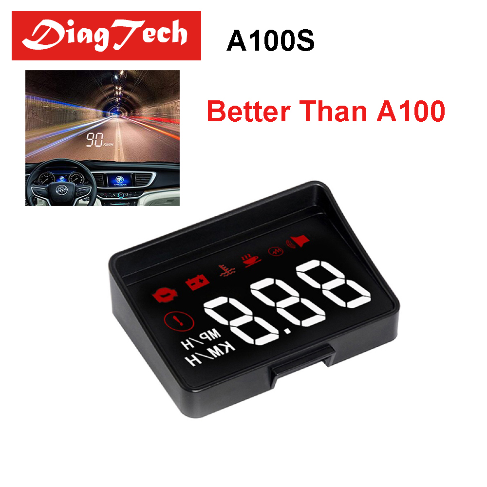 New Generation A100S Car HUD Head Up Display OBD2 EUOBD Overspeed Warning Auto Electronic Voltage Alarm Better Than A100 HUD болгарка калибр мшу 115 755