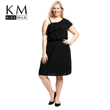 Kissmilk Plus Size Women A-Line One-Shoulder Dress Large Size  Sleeveless One-Shoulder Dress Oversize Ruffles Asymmetrical Dress asymmetrical bow one shoulder top