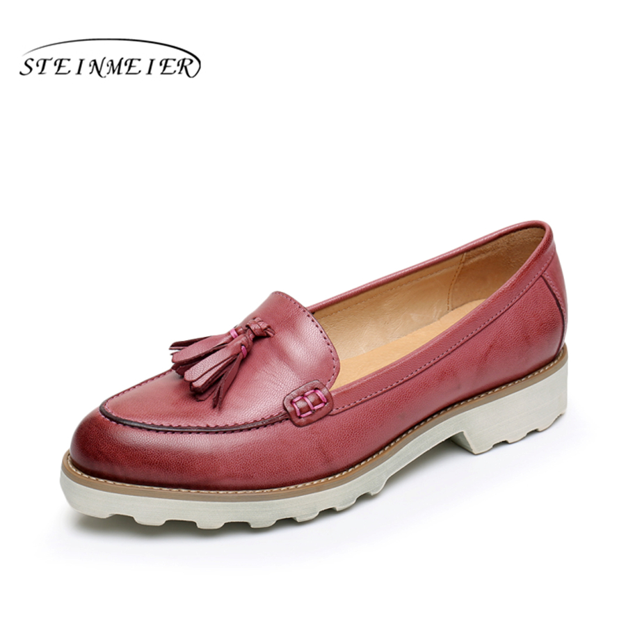 Sheepskin leather woman US size 8.5 designer vintage flat shoes round toe handmade red brown green 2017 oxford shoes for women sgesvier comfortable senior leather fabrics simple and easy red green and four color yellow women flat shoes size 34 41 xt21