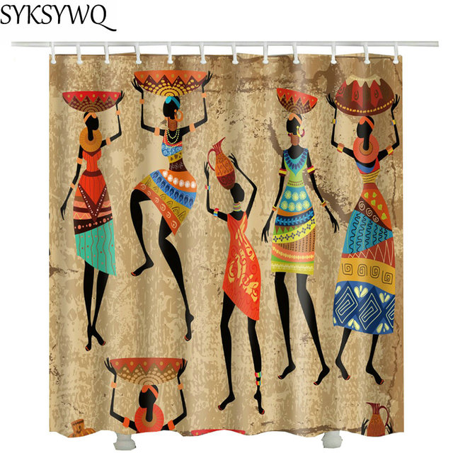 African Women Harvest Shower Curtain Natural 2018 Hot Sale Drop Shipping Bathroom Curtains