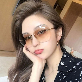 HUHAITANG Oversized Sqaure Sun Glasses For Women Luxury Rimless Womens Sunglass Brand Designer Oversize High Quality Sunglasses