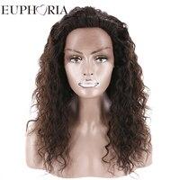 Эйфория афро кудрявый вьющиеся человеческих волос Синтетические волосы на кружеве парики 20 ''длинные свободная часть натуральный Цвет браз