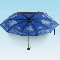 Büyük Satış 3 Katlanır Mavi Gökyüzü Süper Anti-Uv Şemsiye Güneş Koruma Şemsiyesi Yağmur Şemsiye
