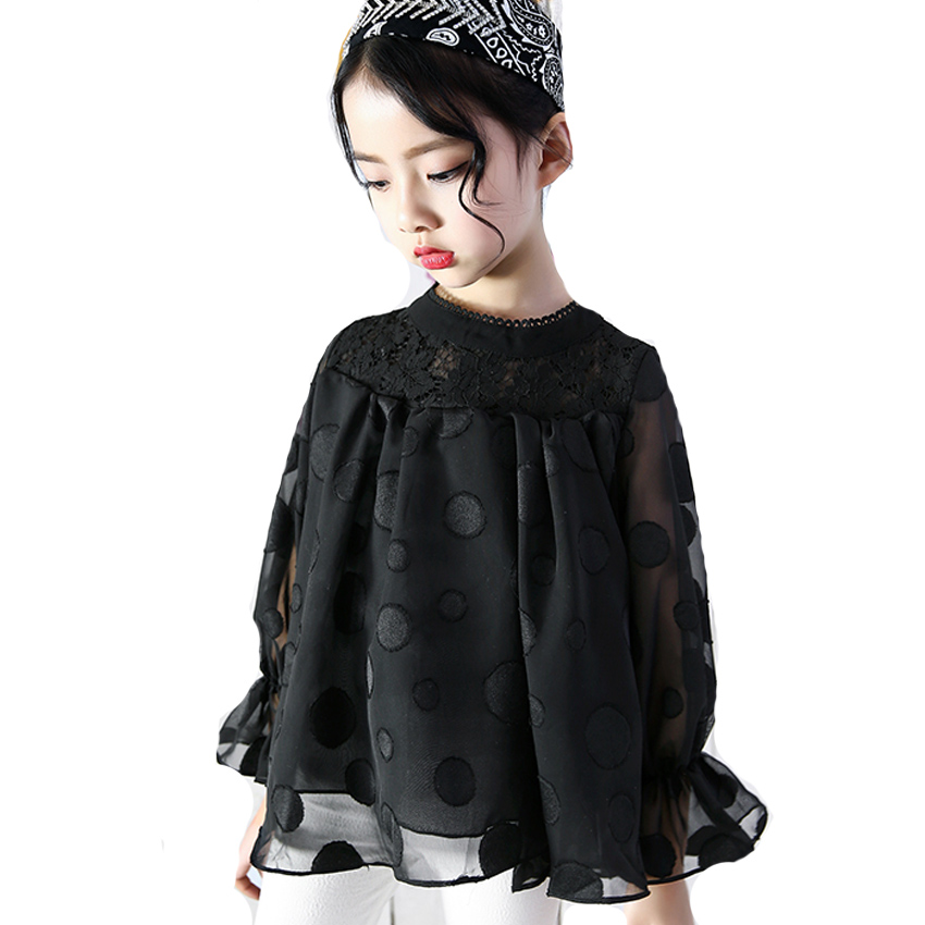 New Girls Blouse Spring Summer Fashion Hot Lace Shirt for Baby Kids Chiffon Clothes Girls Long Sleeve Polka Dot Blouse Vestidos stylish ruffled collar long sleeve see through lace blouse for women