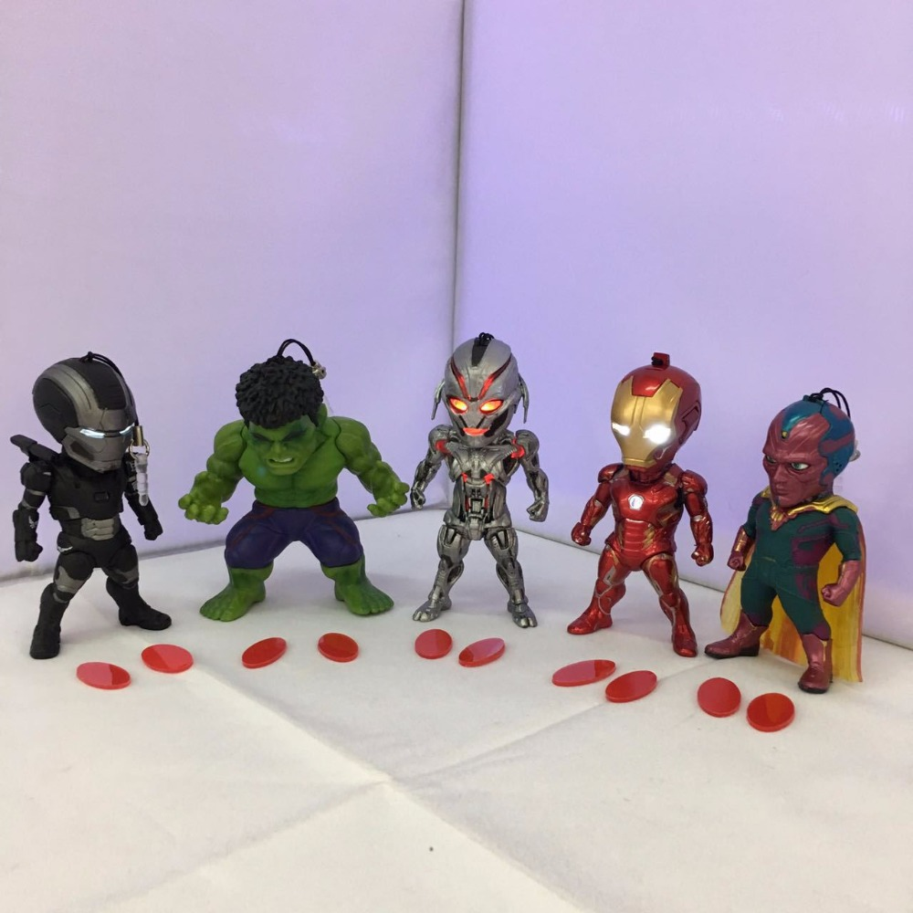 Avengers Age of Ultron Superheros Iron Man Hulk Vision Ultron War Machine PVC Action Figures Toys with LED Light 9cm 5pcs/set xinduplan marvel shield iron man avengers age of ultron mk45 limited edition human face movable action figure 30cm model 0778