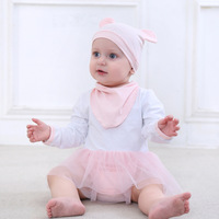ChanJoyCC 2017New Baby Girl Clothes 3pcs Sets Solid Cotton Rompers With Net Yarn Bibs Hat Newborn