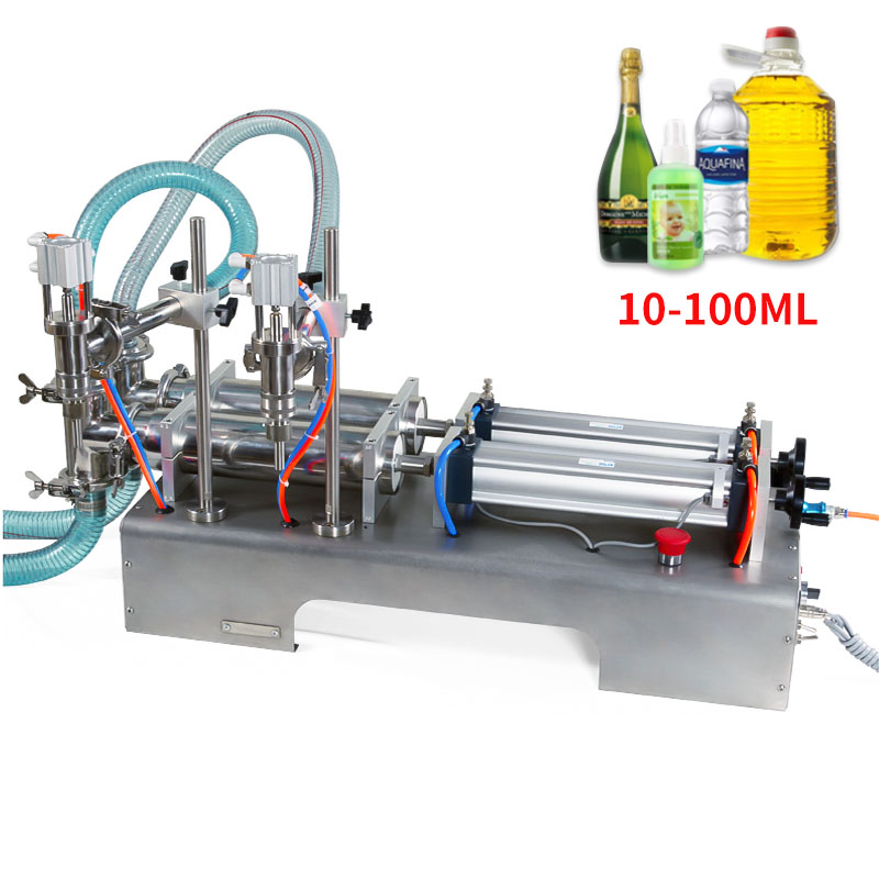 10-100ML Electric Pneumatic Double Head Liquid Filling Machine Shampoo Gel Water Wine Milk Coffee Beverage Filling Machine