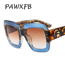 PAWXFB Newest Oversized Square Sunglasses Women Men Luxury Italy Brand Designer Blue Sun Glasses For Female Retro Lunette Shades