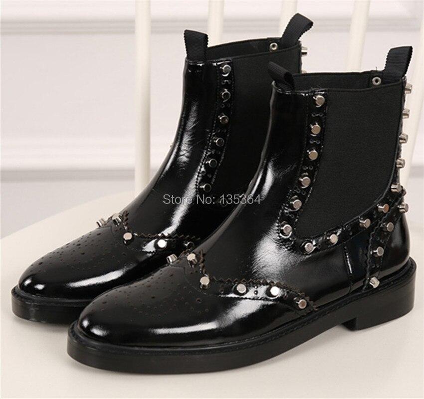 ФОТО Fashion Women Shoes Martin Boots Flats Black Ankle Boots Rivets Slip On Autumn Winter Women Boots Zapatos Mujer Sapato Feminino
