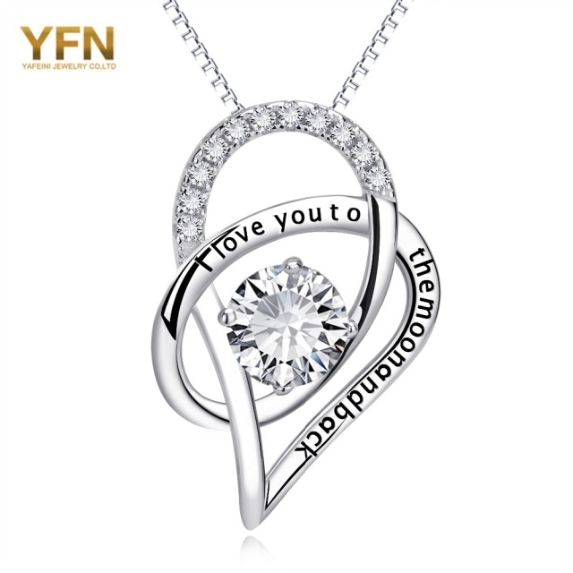 YFN 925 Plata Esterlina CZ Rhinestone Collar de Corazón el Amor I Love You To The Moon And Back Mujeres Collar de Moda joyería
