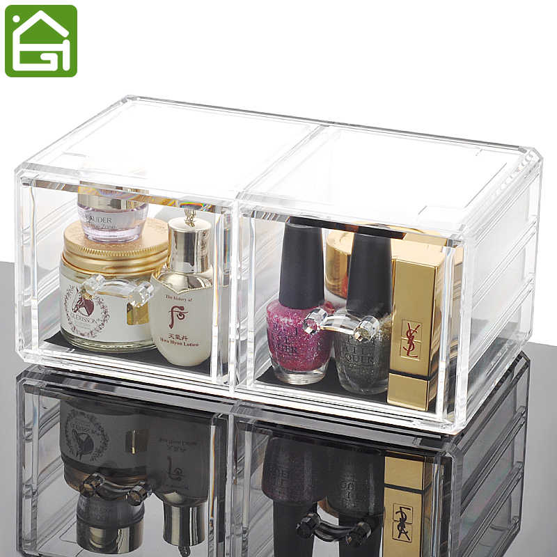 Clear Acrylic Makeup Organizer 2 Large Chest of Drawers for Storage Cosmetic Jewelry or Use for Office Organizer