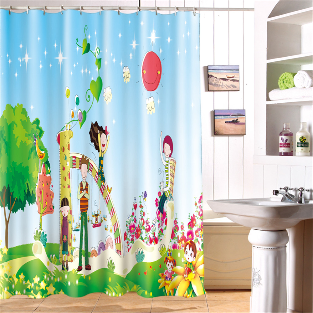 Cartoon Kids Waterproof Bathroom Shower CurtainChild Deer Happy Chrismtas Holiday Curtains X Mas In From Home Garden On