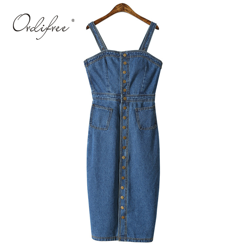 Ordifree 2019 Summer Autumn Women Denim Dress Sundress Sarafan Overalls Dress Vintage Blue Sexy Bodycon Female Jeans Dress