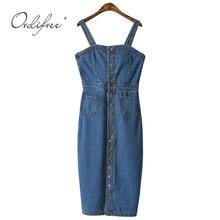9f5ec96ce6e Ordifree 2019 Лето Осень женское джинсовое платье сарафан комбинезон платье  винтажное синее сексуальное облегающее женское джинсовое