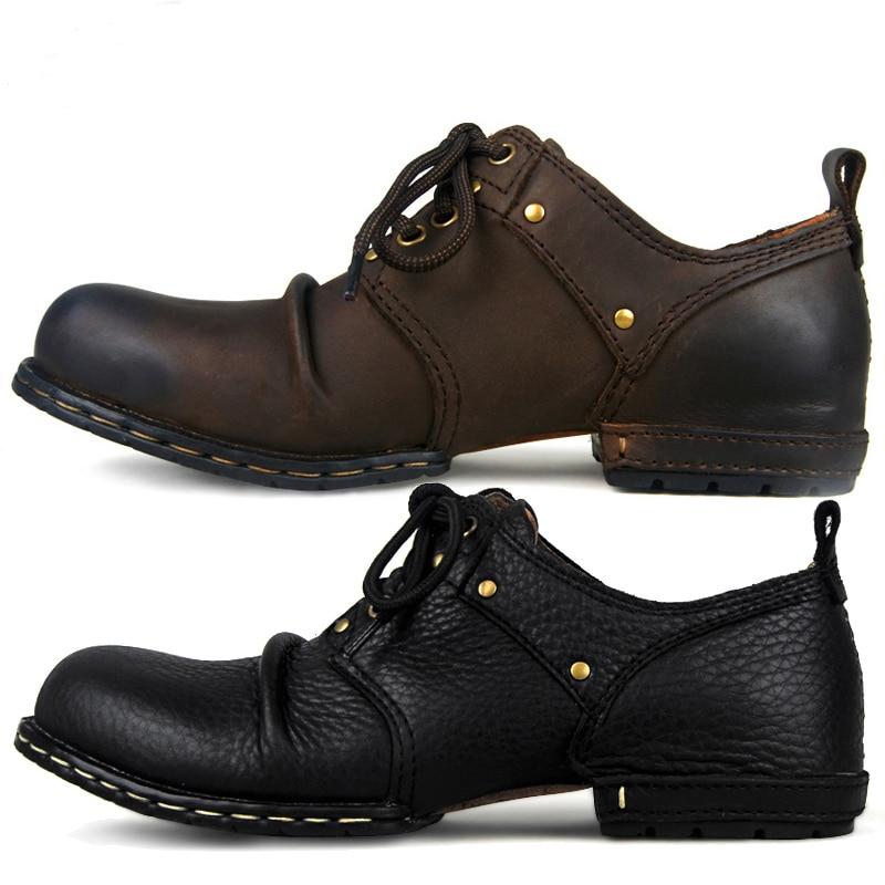 OTTO منطقة اليدوية حقيقية جلد البقر حذاء من الجلد الأزياء حذاء رجالي الأحذية برشام حذاء مسطح عارضة الدانتيل متابعة الأحذية ، أفضل جودة-في أحذية برقبة أساسية من أحذية على  مجموعة 1