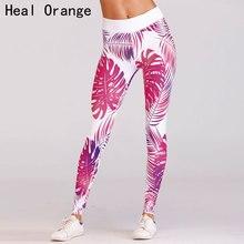 b652c44fd366c GUÉRIR ORANGE Rouge Imprimer Élastique Taille Haute Yoga Leggings Femme  Leggins Pour Sport Pantalon Pour Filles Fitness Workout .