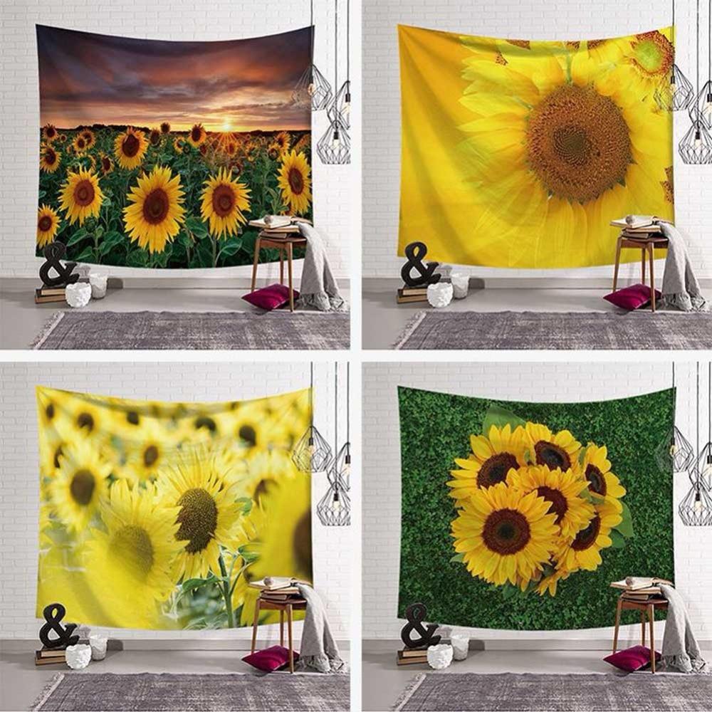 Sunflower Wall Hanging Tapestry 3D Flower Pattern HD Scenery Art Carpet Blanket Yoga Mat Gobelin Decorative Tapestry Home Decor