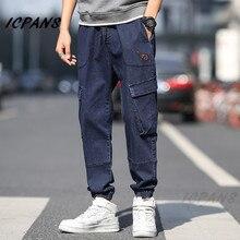 ICPANS Denim Jeans For Men Joggers Casual Loose Fashion Multi Pocket Work Pants Men's Cargo Work Pants Men 2019 Plus Size XXXL