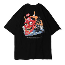 Harajuku Japanese Style Python Devil Printed T Shirts Mens Summer Hip Hop Short Sleeve Streetwear Tshirts Male Fashion Tees
