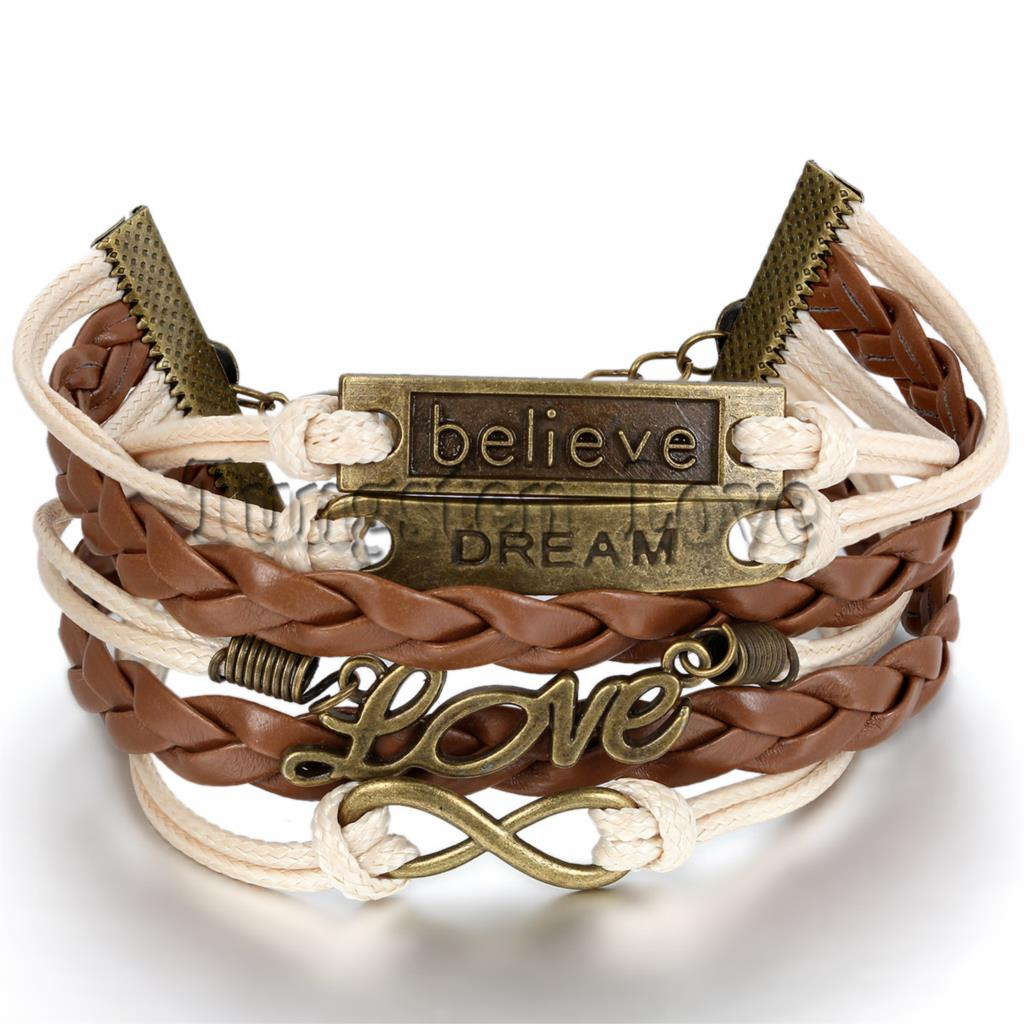 Women Fashion Vintage Leather Bracelet Infinity Love Believe Dream Multilayer Charm Bracelets girl gift Brown Color Wholesale
