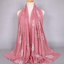 Новинка года Дизайн emboridery хиджаб ситец вискоза шарф довольно глушитель пашмины мусульманские платки Быстрая