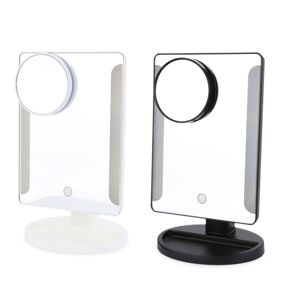 Hot Selling Black and White 36 LED USB Power Portable Folding Toilet Lighted Makeup Mirror with Magnifier