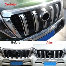 6 PCS DIY car styling New ABS Chrome front grille decorative light strip cover case for Toyota 2010-16 Prado parts accessories